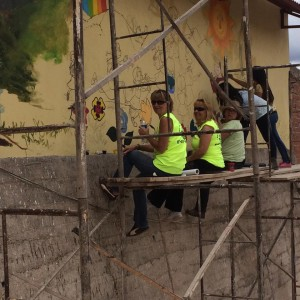 Rotary painters doing mural